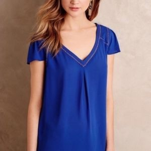 Anthroplogie Maeve Cap Sleeve Conalt Blue Blouse